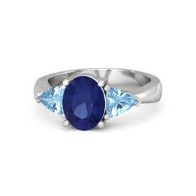 Oval Sapphire Sterling Silver Ring with Blue Topaz