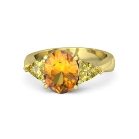 Oval Citrine 18K Yellow Gold Ring with Yellow Sapphire