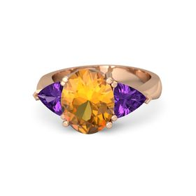 Oval Citrine 18K Rose Gold Ring with Amethyst