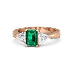 Emerald-Cut Emerald 14K Rose Gold Ring with White Sapphire