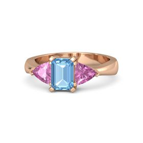 Emerald-Cut Blue Topaz 14K Rose Gold Ring with Pink Sapphire