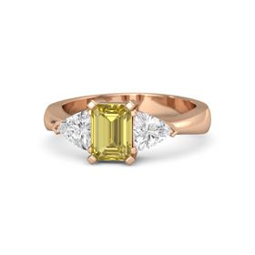 Emerald Yellow Sapphire 14K Rose Gold Ring with White Sapphire
