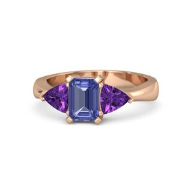 Emerald Tanzanite 14K Rose Gold Ring with Amethyst