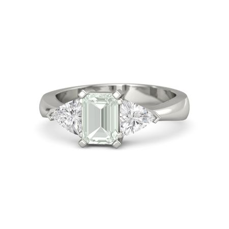 emerald cut green amethyst 14k white gold ring with white