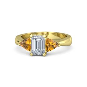 Emerald Diamond 14K Yellow Gold Ring with Citrine