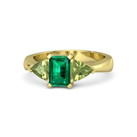Emerald Emerald 14K Yellow Gold Ring with Peridot
