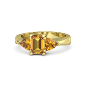 Emerald-Cut Citrine 14K Yellow Gold Ring with Citrine