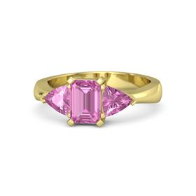 Emerald Pink Sapphire 14K Yellow Gold Ring with Pink Sapphire