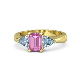 Emerald Pink Sapphire 14K Yellow Gold Ring with Aquamarine