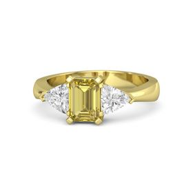 Emerald-Cut Yellow Sapphire 14K Yellow Gold Ring with White Sapphire
