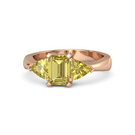Emerald Yellow Sapphire 18K Rose Gold Ring with Yellow Sapphire