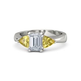 Emerald Diamond 18K White Gold Ring with Yellow Sapphire