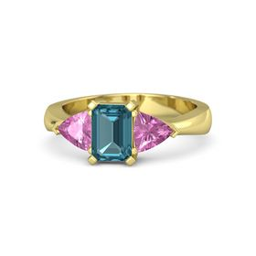 Emerald London Blue Topaz 18K Yellow Gold Ring with Pink Sapphire