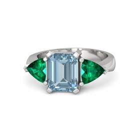 Emerald-Cut Aquamarine Sterling Silver Ring with Emerald