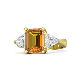 Emerald-Cut Citrine 18K Yellow Gold Ring with White Sapphire