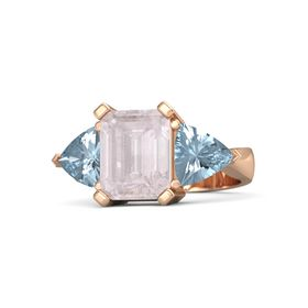 Emerald Rose Quartz 14K Rose Gold Ring with Aquamarine