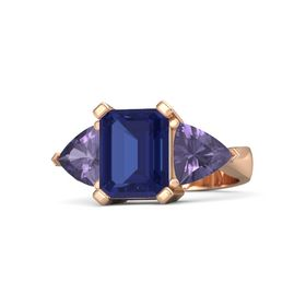 Emerald-Cut Sapphire 14K Rose Gold Ring with Iolite