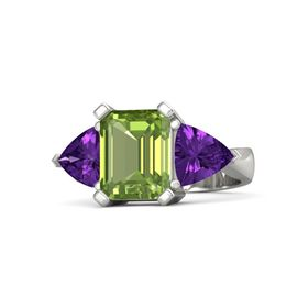 Emerald Peridot 14K White Gold Ring with Amethyst