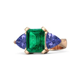 Emerald Emerald 18K Rose Gold Ring with Tanzanite
