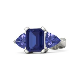 Emerald Blue Sapphire 18K White Gold Ring with Tanzanite