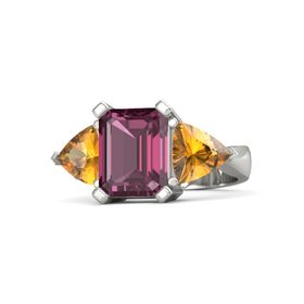 Emerald-Cut Rhodolite Garnet Platinum Ring with Citrine