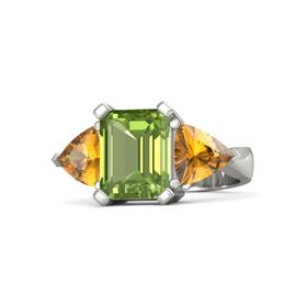 Emerald-Cut Peridot Platinum Ring with Citrine
