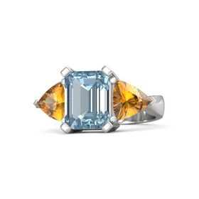 Emerald-Cut Aquamarine Sterling Silver Ring with Citrine