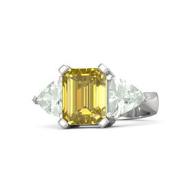 Emerald-Cut Yellow Sapphire Sterling Silver Ring with Green Amethyst