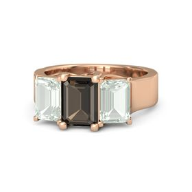 Emerald Smoky Quartz 14K Rose Gold Ring with Green Amethyst