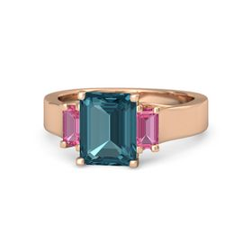 Emerald London Blue Topaz 14K Rose Gold Ring with Pink Tourmaline