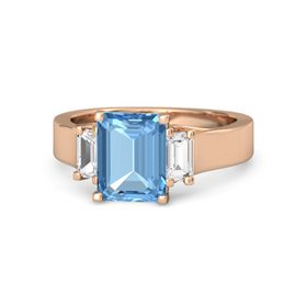 Emerald Blue Topaz 14K Rose Gold Ring with White Sapphire
