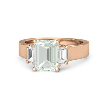 Blaze Ring - Emerald Green Amethyst 14K Rose Gold Ring with White Sapphire