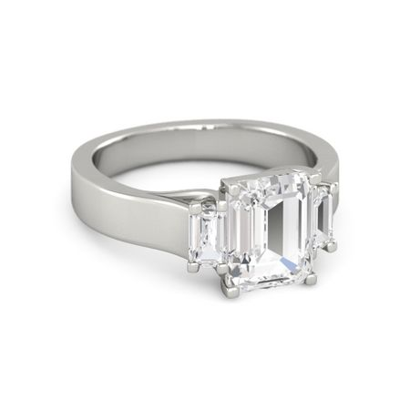 emerald cut white sapphire 14k white gold ring with white