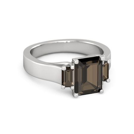 emerald cut smoky quartz sterling silver ring with smoky