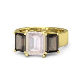 Emerald-Cut Rose Quartz 14K Yellow Gold Ring with Smoky Quartz