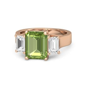 Emerald-Cut Peridot 14K Rose Gold Ring with White Sapphire