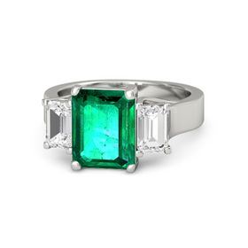 Emerald Emerald 14K White Gold Ring with White Sapphire
