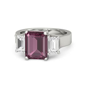Emerald-Cut Rhodolite Garnet 14K White Gold Ring with White Sapphire