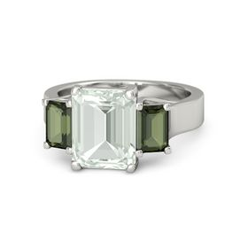 Emerald-Cut Green Amethyst 14K White Gold Ring with Green Tourmaline