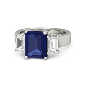 Emerald Blue Sapphire 14K White Gold Ring with White Sapphire