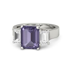 Emerald-Cut Iolite 14K White Gold Ring with White Sapphire