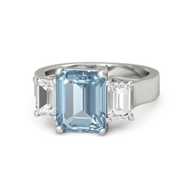 Emerald Aquamarine 18K White Gold Ring with White Sapphire