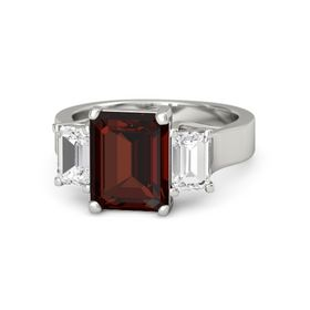 Emerald-Cut Red Garnet Platinum Ring with White Sapphire
