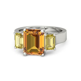 Emerald Citrine Platinum Ring with Yellow Sapphire