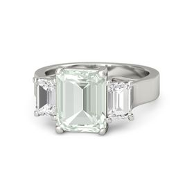 Emerald-Cut Green Amethyst Platinum Ring with White Sapphire