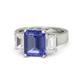Emerald-Cut Tanzanite Platinum Ring with White Sapphire