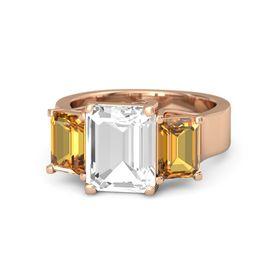 Emerald Rock Crystal 14K Rose Gold Ring with Citrine