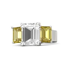 Emerald Rock Crystal Palladium Ring with Yellow Sapphire