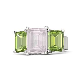 Emerald Rose Quartz 18K White Gold Ring with Peridot