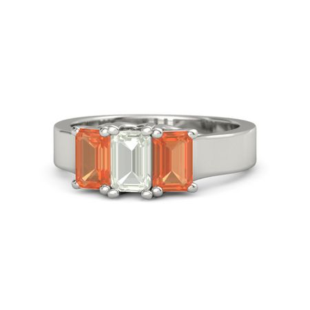 Emerald Green Amethyst 14K White Gold Ring with Fire Opal